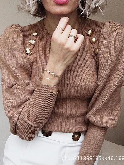 Khaki Puff Sleeve Sweater