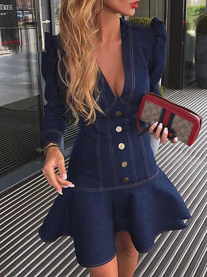 Blue Plunge Ruffle Hem Long Sleeve Denim Mini Dress