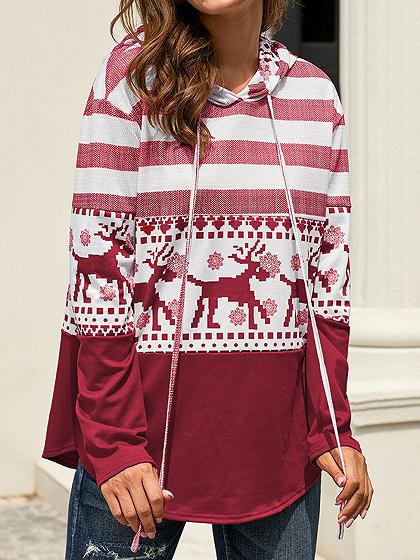 Red Stripe And Reindeer Print Long Sleeve Hoodie