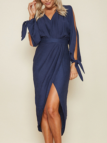 Dark Blue V-neck Long Sleeve Hi-Lo Midi Dress