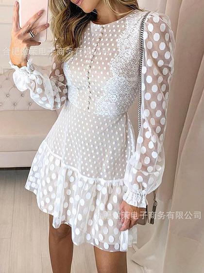 White Polka Dot Print Puff Sleeve Mini Dress