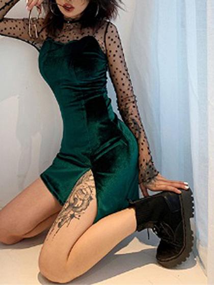 Green Split Front Cami Mini Dress