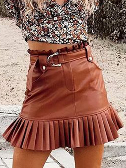 Brown High Waist Pleated Hem PU Mini Skirt