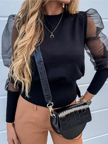 Black Sheer Mesh Panel Puff Sleeve Blouse