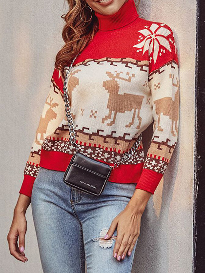 Red Christmas Reindeer Print Long Sleeve Sweater