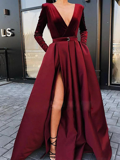 Red Plunge Long Sleeve Maxi Dress