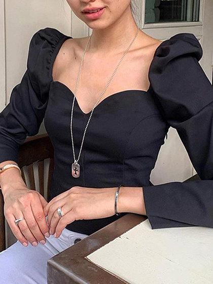 Black V-neck Puff Sleeve Blouse