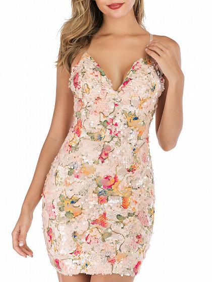 Polychrome V-neck Floral Print Cami Mini Dress