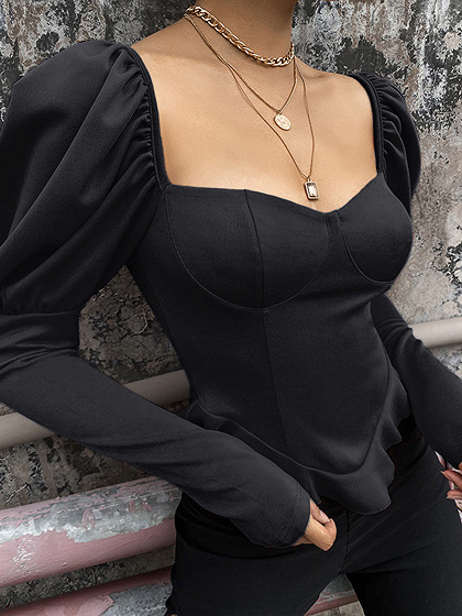 Black V-neck Puff Sleeve Blouse