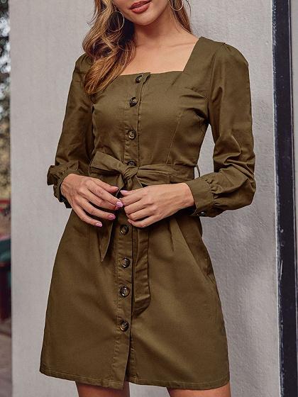 Army Green Tie Waist Long Sleeve Mini Dress
