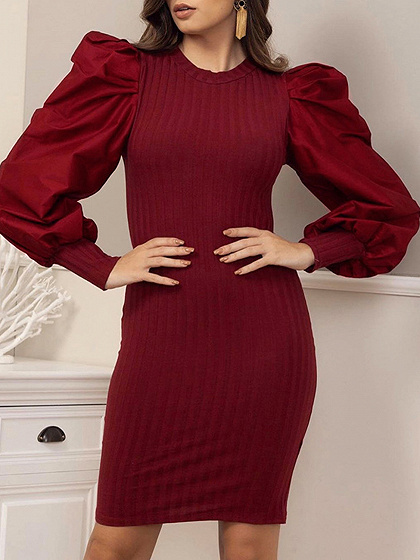Red Ribbed Panel Puff Sleeve Mini Dress