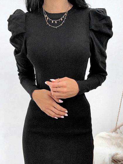 Black Ribbed Panel Puff Sleeve Mini Dress