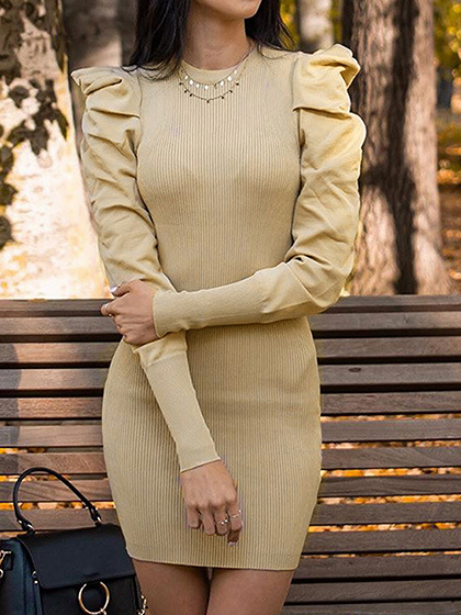Khaki Ribbed Panel Puff Sleeve Mini Dress