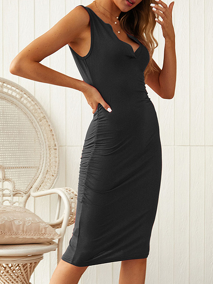 Black V-neck Sleeveless Bodycon Dress