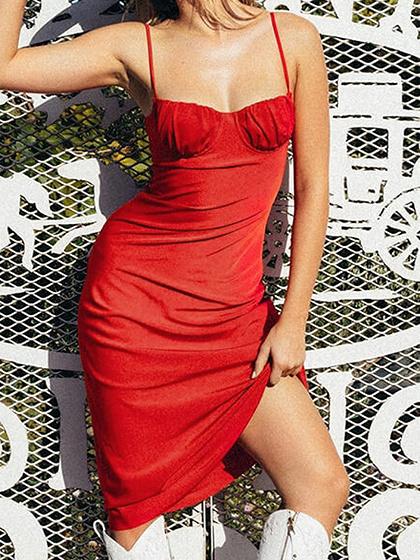 Red Cami Midi Dress