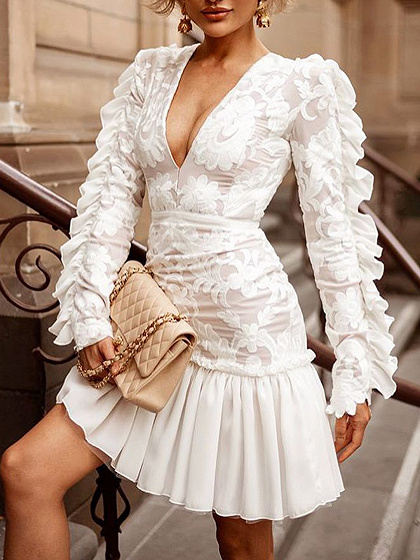 White Plunge Ruffle Trim Long Sleeve Mini Dress
