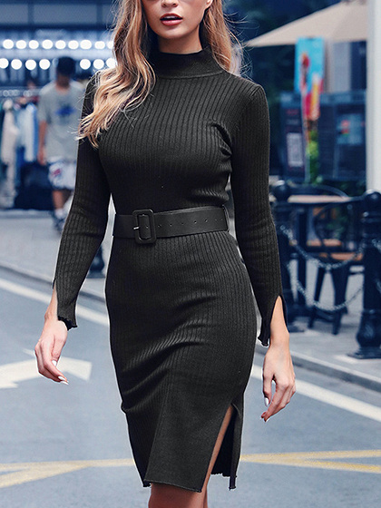 Black Split Side Long Sleeve Mini Dress