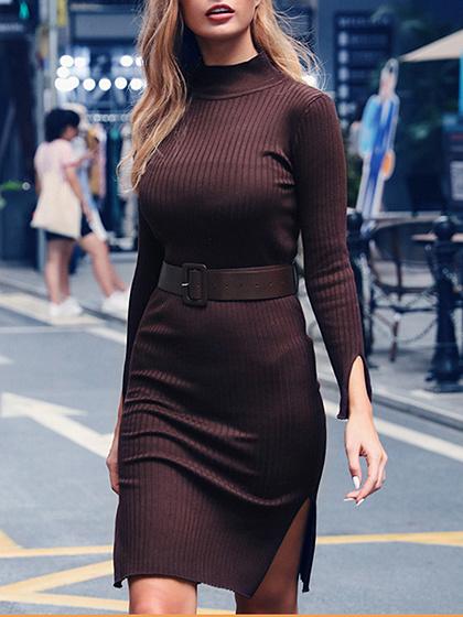 Brown Split Side Long Sleeve Mini Dress