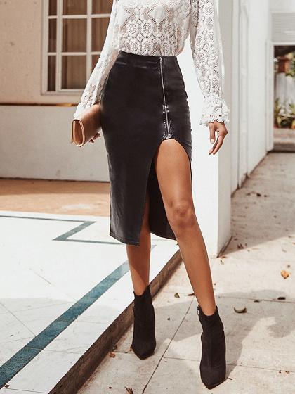Black High Waist Split Detail PU Midi Skirt