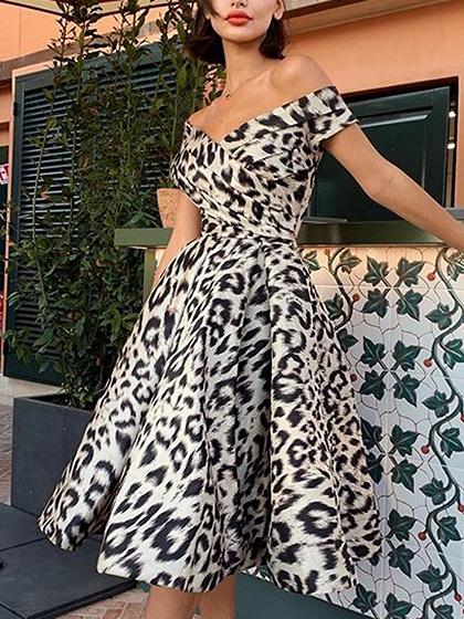White V-neck Leopard Print Midi Dress
