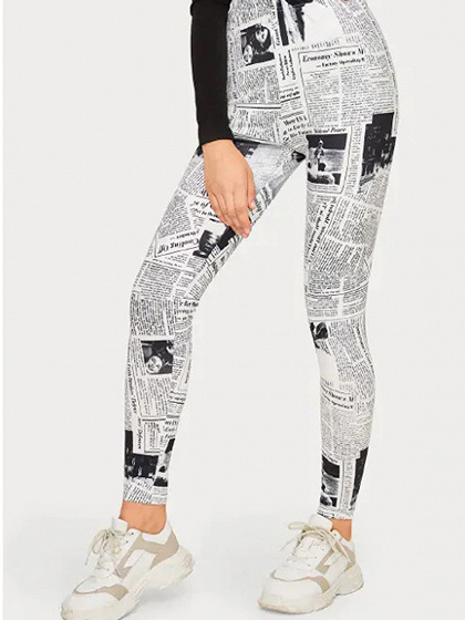 White High Waist Newspaper Print Leggings