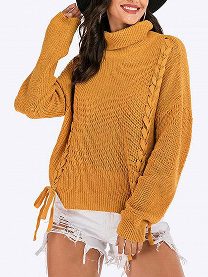 Yellow High Neck Lace Up Front Long Sleeve Sweater