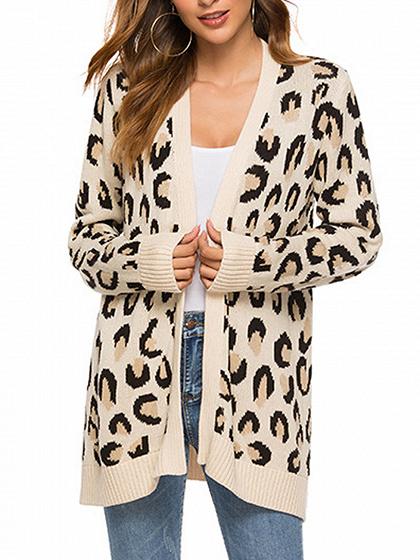 Khaki Leopard Print Long Sleeve Cardigan