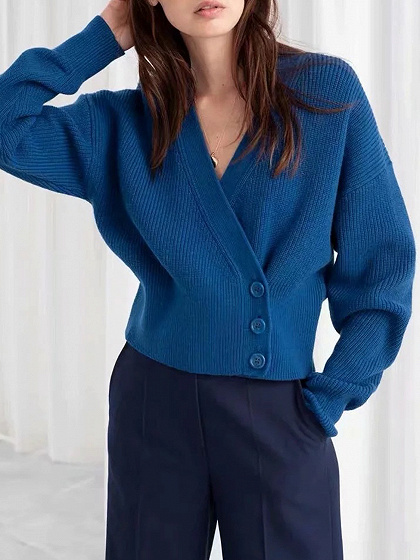 Blue V-neck Long Sleeve Sweater