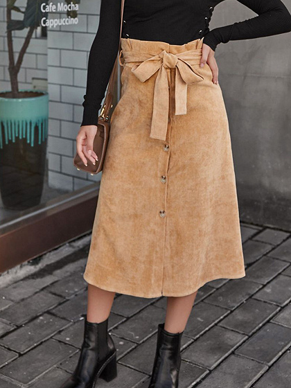 Brown Corduroy High Waist Button Placket Front Midi Skirt