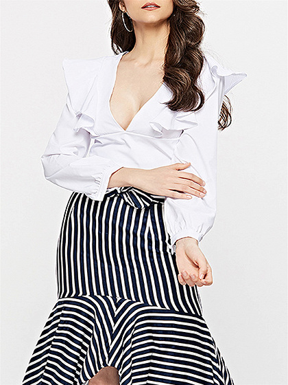 White Plunge Ruffle Trim Long Sleeve Crop Blouse
