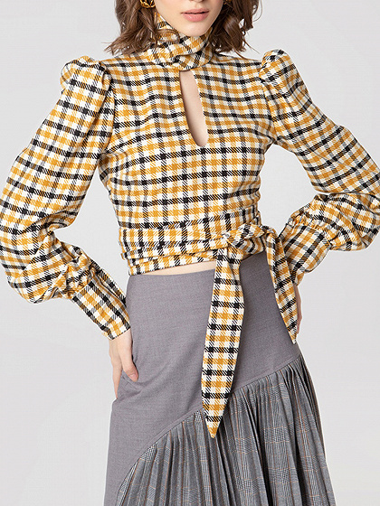 Yellow Plaid Open Back Puff Sleeve Crop Blouse