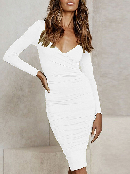 White V-neck Long Sleeve Bodycon Dress