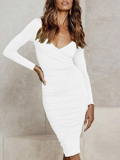 White V-neck Long Sleeve Bodycon Dress