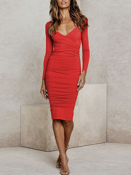 Red V-neck Long Sleeve Bodycon Dress