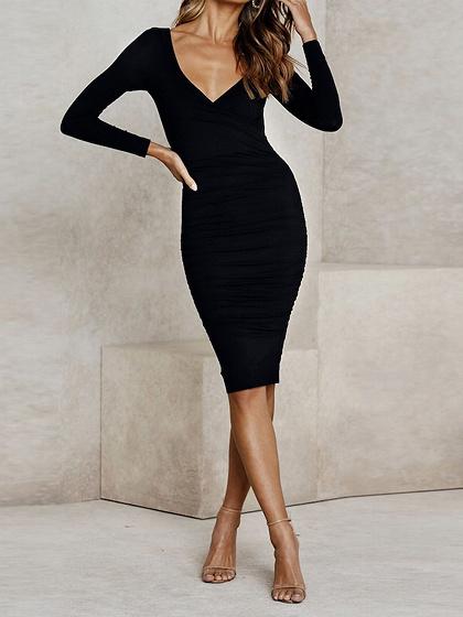 Black V-neck Long Sleeve Bodycon Dress