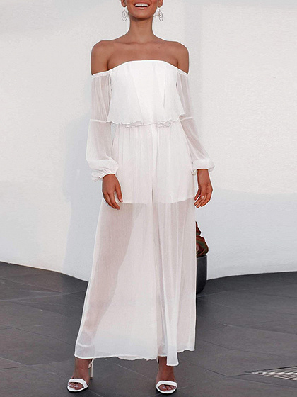 White Off Shoulder Ruffle Trim Puff Sleeve Jumpsuit