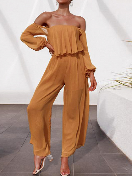 Orange Off Shoulder Ruffle Trim Puff Sleeve Jumpsuit