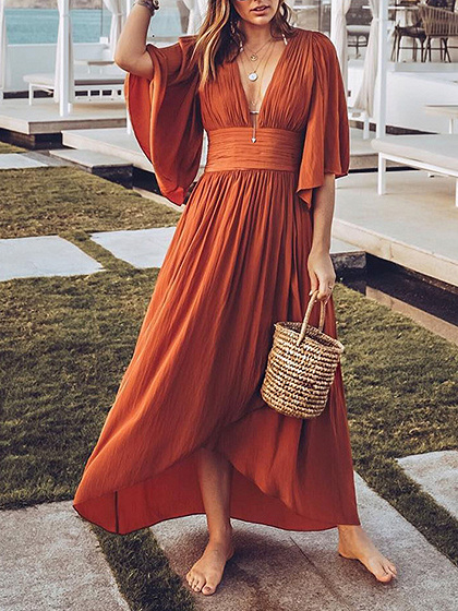 Orange Plunge Flare Sleeve Hi-Lo Maxi Dress