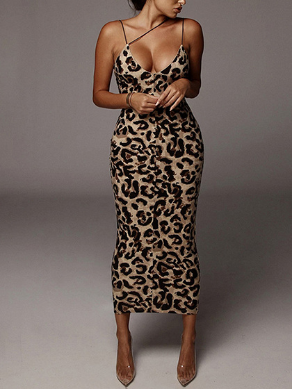 Brown V-neck Leopard Print Cami Maxi Dress