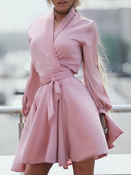 Pink V-neck Tie Waist Long Sleeve Mini Dress