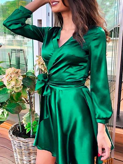 Green V-neck Tie Waist Long Sleeve Mini Dress
