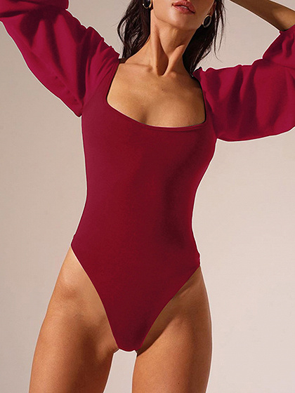Burgundy Puff Sleeve Bodysuit