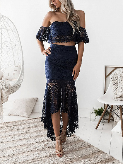 Blue Off Shoulder Fishtail Hem Lace Bodycon Dress