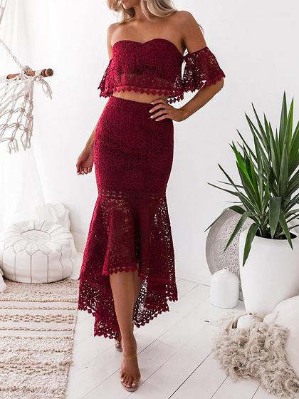 Red Off Shoulder Fishtail Hem Lace Bodycon Dress