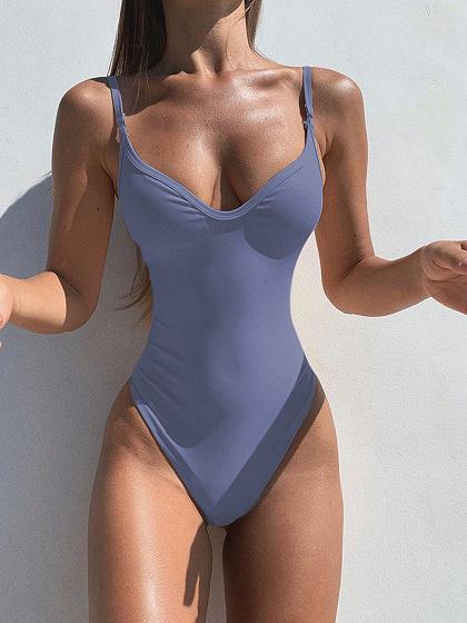 Blue V-neck Swimsuit