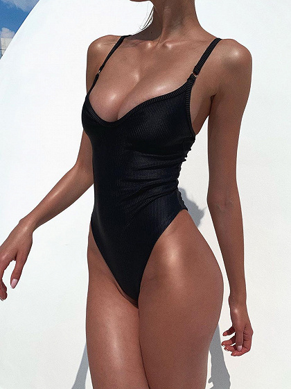 Black V-neck Swimsuit