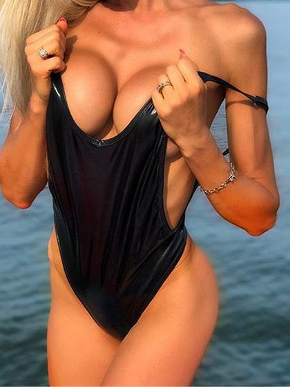 Black Open Back Swimsuit