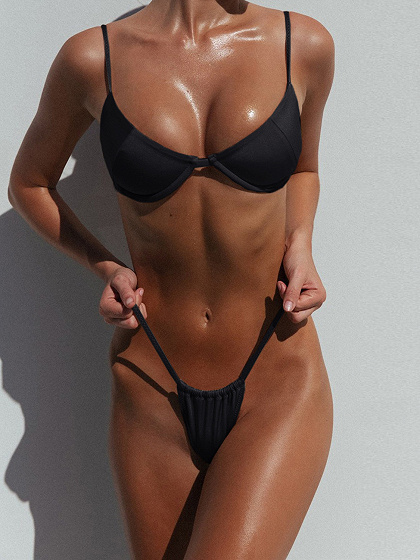 Black Bikini Top And High Waist Bottom