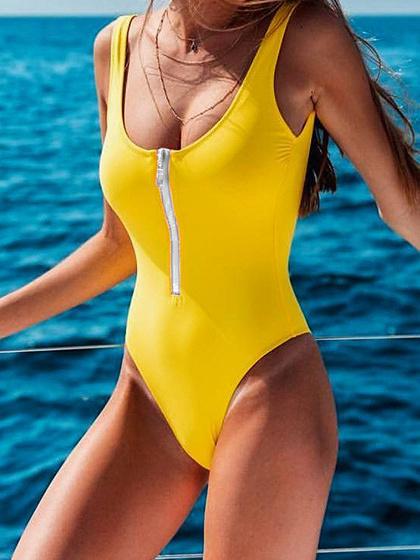 Yellow Zip Front Swimsuit