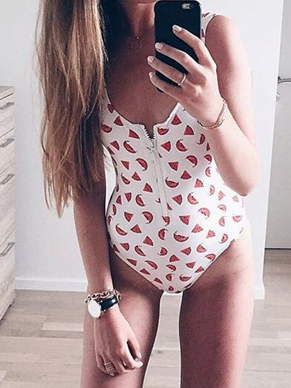 White Watermelon Print Swimsuit